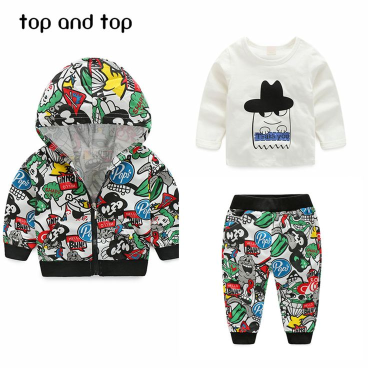 Newest Spring  Baby Boys Girls Clothing sets Cartoon  Casual Kids Hooded Coat+ t-shirt+Pants 3Pcs Newborn Clothes Suits #>=#>=#>=#>=#> Click on the pin to check out discount price, color, size, shipping, etc. Save and like it!