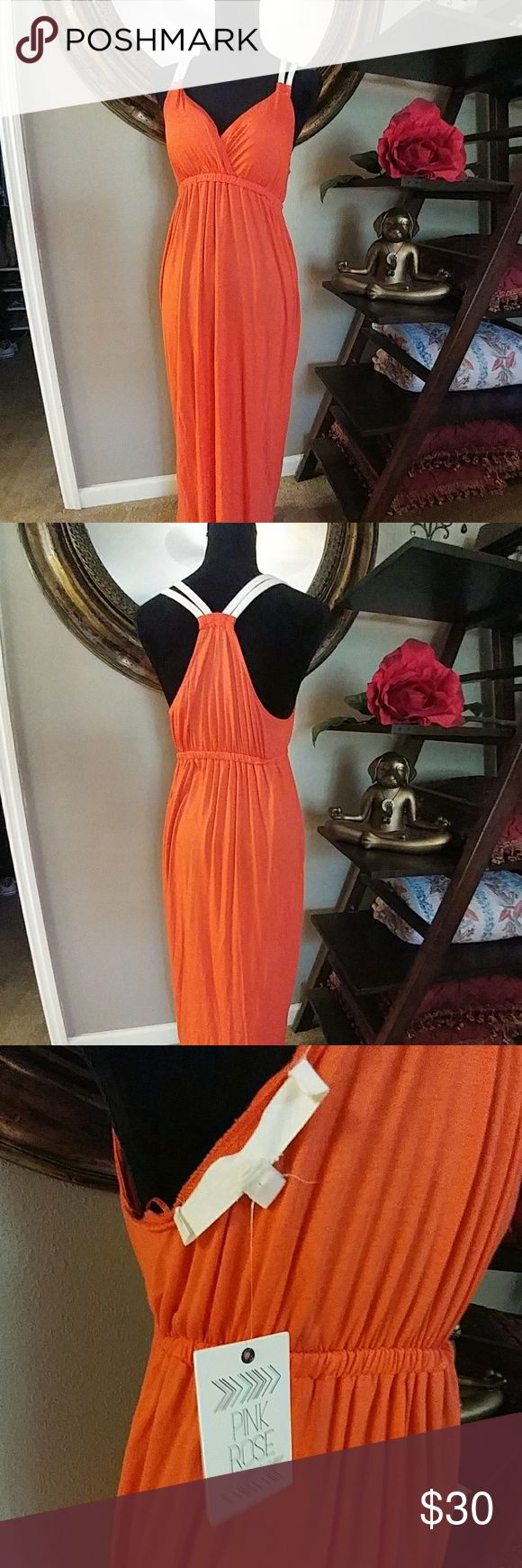 Bright Orange Maxi dress! Beautiful bright orange (candy orange) maxi with rope detail. Super soft, made of 100% rayon, feels great on skin! Pink Rose Dresses Maxi