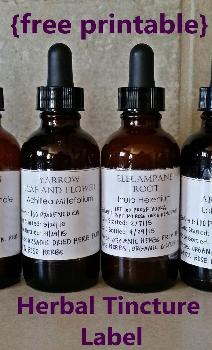 Erickson And Co Herbal Tincture Label Template Free