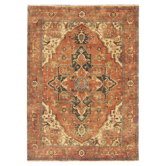 Serapi Oriental Hand Knotted Wool Orange Beige Area Rug Exquisite Rugs Beige Area Rugs Area Rugs