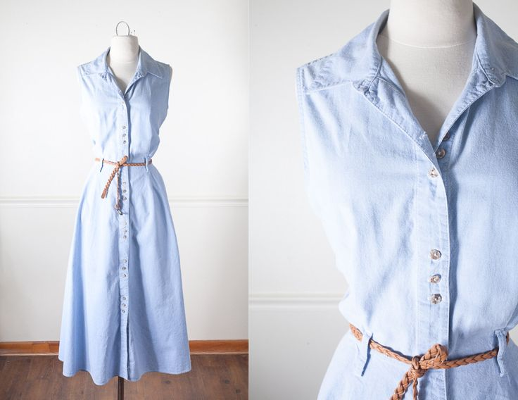 80s Does 50s Dress / Vintage 80s Dress / Shirtwaist Dress / Vintage Chambray Dress / Cute Retro Dress / 50s Style Dress / Pin Up Shirt Dress by BlueHorizonVintage on Etsy #chambray #denim #vintage #dress #50s #80s #midi #maxi #pinup #etsy #fashion #clothing #style