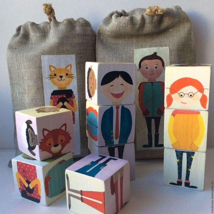 Купить Детские кубики развивающие - развивающие игрушки, кубики декупаж, развивайка, развивающие игры