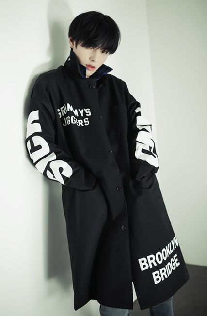 Ulzzang Style Pretty Boys Males Guys Black Coat