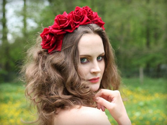 Red velvet flower hairband flower crown rose by rougepony on Etsy, £25.00