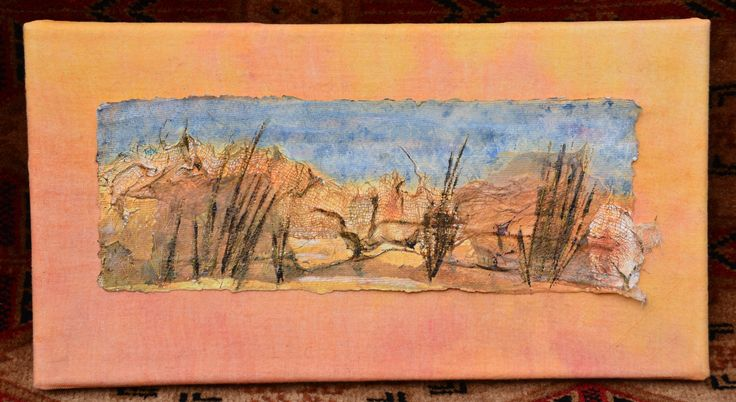Formby Foreshore by Debby Anya Spiby. Machine and hand stitched mixed media on paper.