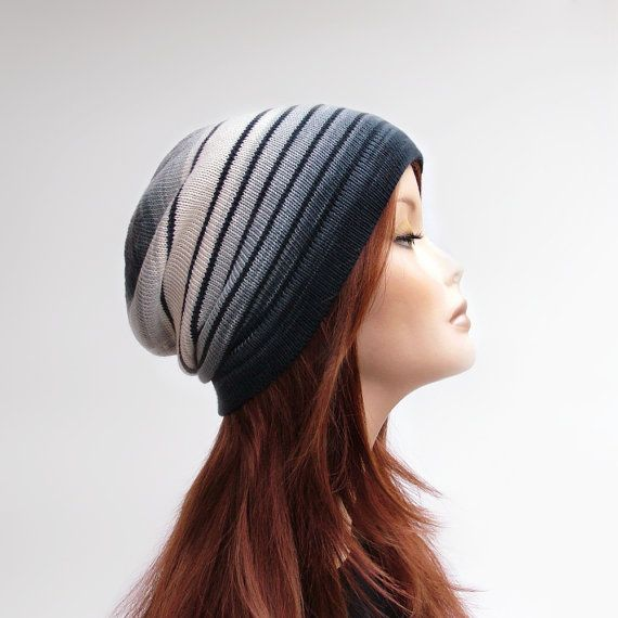 Womens cotton knit slouchy beanie in ombre grey and off-white with stripes. Lightweight / middleweight grounge beanie for the spring - summer - autumn months by rukkola on Etsy.