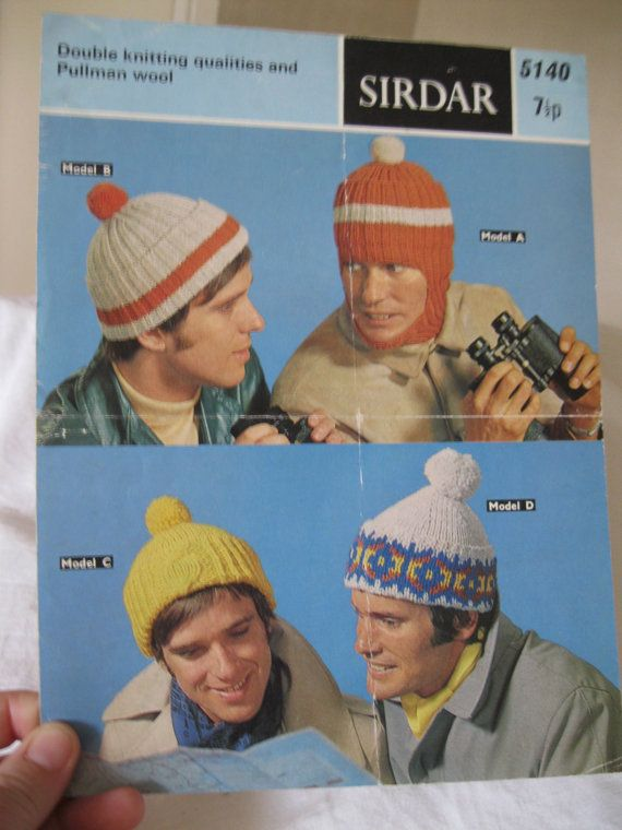 Quirky 70s Vintage knitting pattern childrens mens bobble hats balaclava