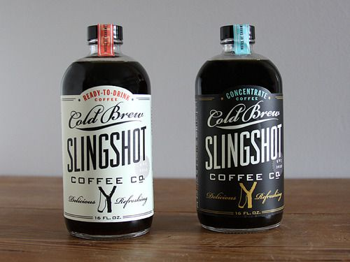 coffee + good type = deliciousCoffe Packaging, Design Projects, Slingshot Coffe, Graphics Design, Coffe Brand, Products Design, Bottle Design, Cold Brew, Labels Design