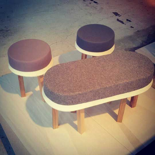 Swell by Earnest Studio. Felt and foam stools and benches that look like ice cream desserts.