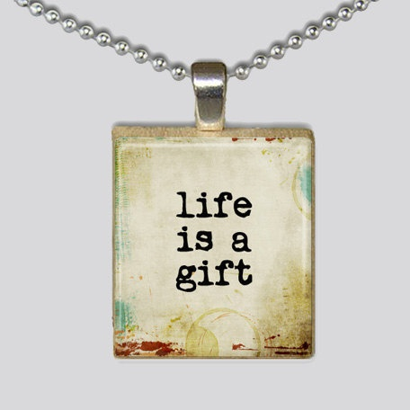 Scrabble Tile Necklace  Life is a Gift Pendant by Innocinch, $3.50