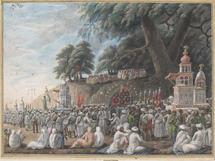 A Muharram scene Company Painting Patna, India (made) ca. 1807 (painted) Artist/Maker: unknown (production) Painted in opaque watercolour on paper. This one depicts part of the Muharram ceremonies, which Muslims carry out in memory of Hasan and Hosein, grandsons of the Prophet Muhammed.
