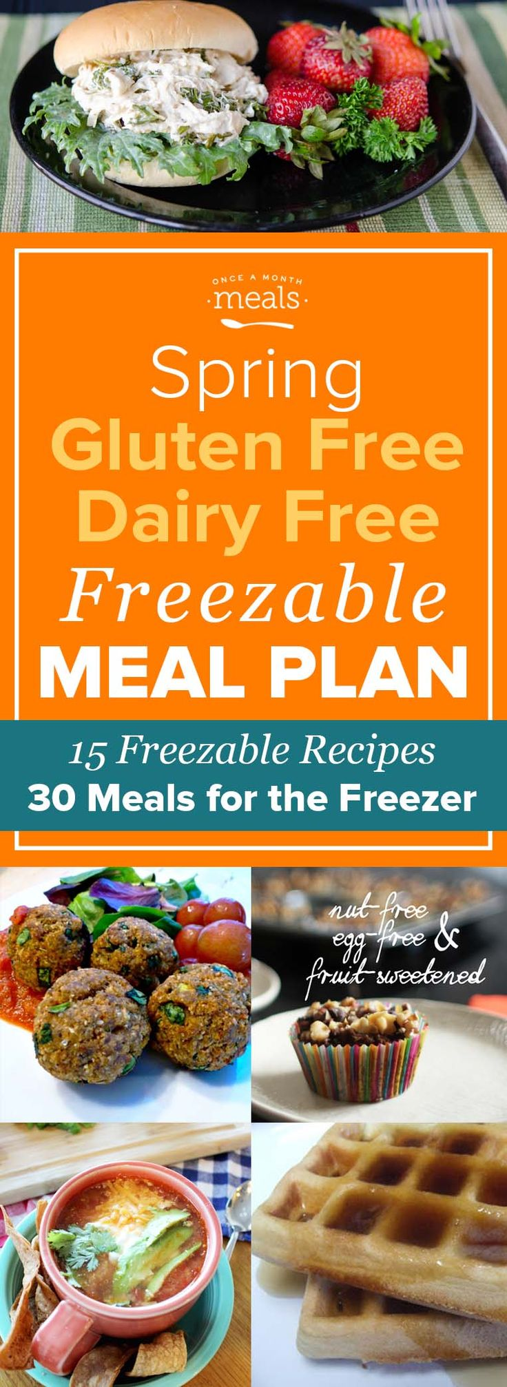 Time to enjoy spring produce in your gluten and dairy free freezer meals! From asparagus to mushrooms these recipes bring fresh flavors to meal planning. via @onceamonthmeals