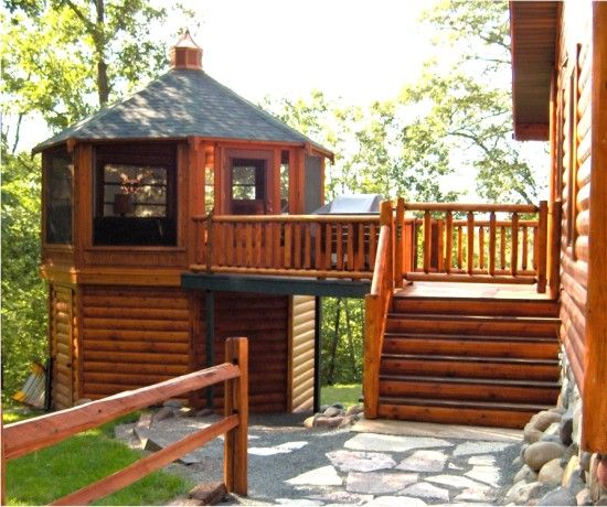 Cabin Bar Design Ideas: What A Neat Little 2-story Screened Gazebo. Great Design