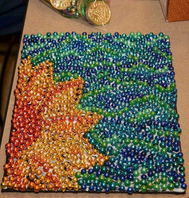Make A Mosiac Out Of Leftover Mardi Gras Beads It S Great Way To Create