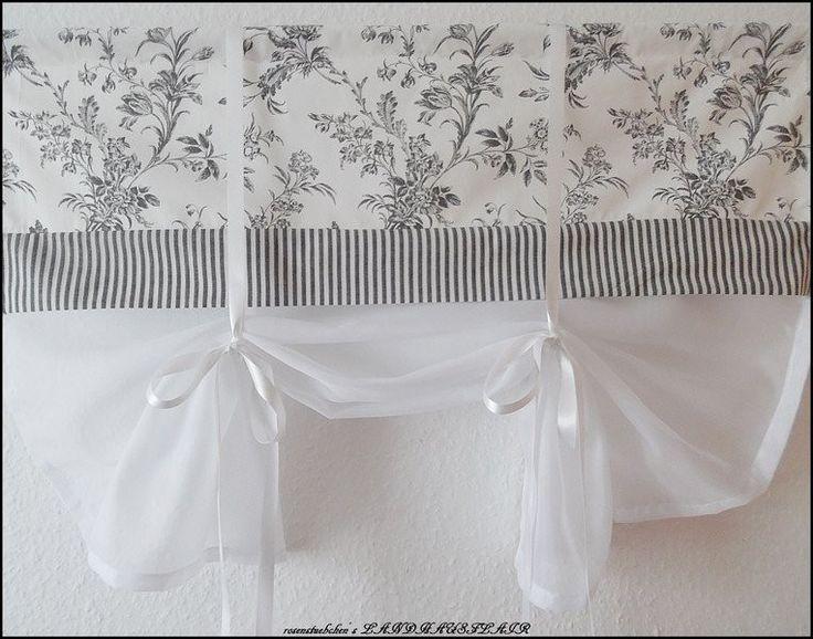 Gardinen - Raffgardine Raffrollo Landhaus ANTHRAZITGRAU BLUME - ein Designerstück von rosenstuebchen bei DaWanda