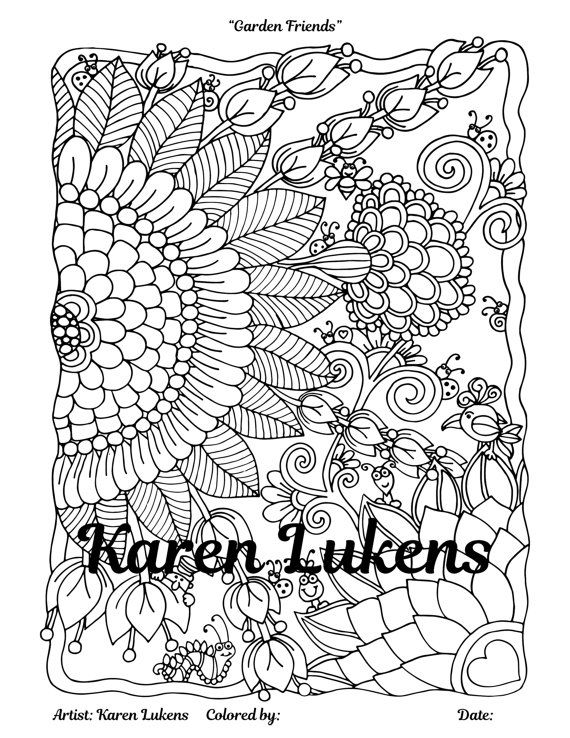 garden friends 1 adult coloring book page printable instant download flowers