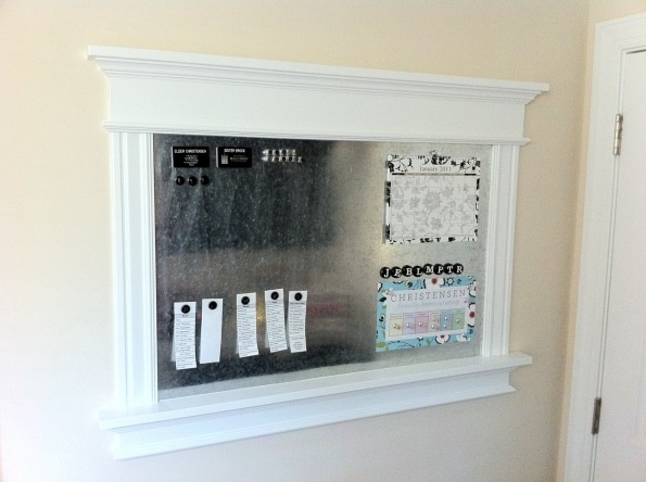 Build a magnet board. Would also be nice to convert part of this to chalkboard or corkboard. Perhaps hooks along the bottom moulding.