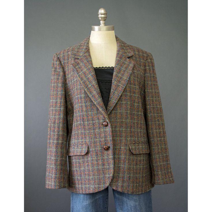 SALE - Harris Tweed Jacket - 70s Blazer - Scottish Wool Blazer Jacket - Oversize Handwoven Tweed Blazer - Wool Suit Jacket - 1970s Blazer