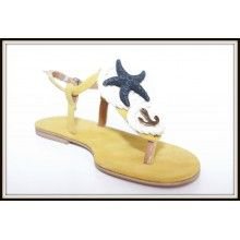Suede leather sandals with rope, starfish lava and metal anchor.