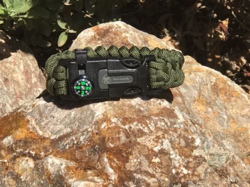 4in1 Survival Paracord Camp Bracelet Outdoor Compass Flint Fire Starter Whistle