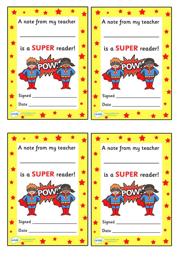 Note From Teacher Super Reader - twinkl