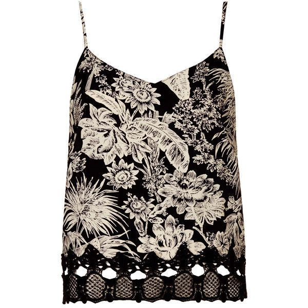 TOPSHOP Petite Mono Floral Print Cami (25 CAD) ❤ liked on Polyvore featuring tops, tank tops, tanks, topshop, shirts, monochrome, petite, petite tops, crochet shirt and petite shirts