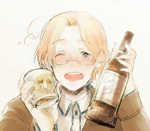 I haven't posted anything Canada related in awhile so here's a random (cute) drawing of Canada..with what Looks like alcohol.