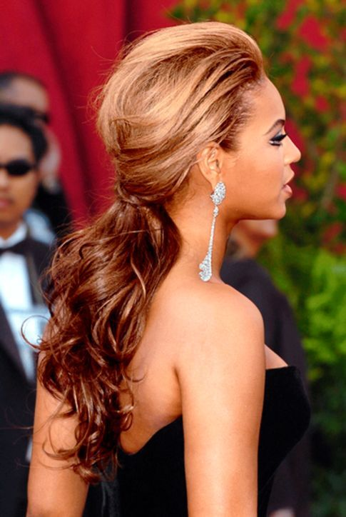 Beyonce's Greatest Hairstyles: 31 Ideas for Curly, Textured Hair: Lipstick.comPonytails Tease hair at the crown, then loosely pin curls back.
