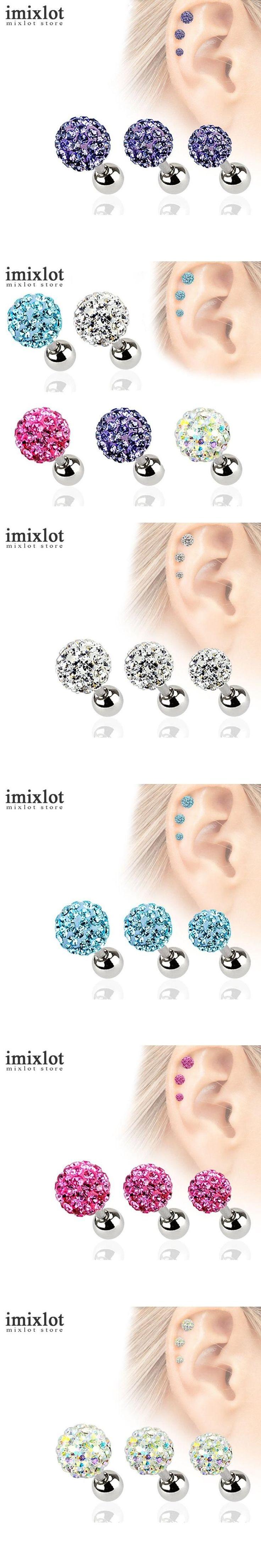 2Pcs 3 4 5mm Crystal Ball Earrings Surgical Steel Ear Plugs Eyebrow Piercings Women's Ear Studs Screw Percing Body Jewelry #BallEarrings
