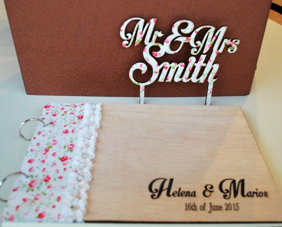 wood wedding guest book photo album engraved fabric by WoodYourDay