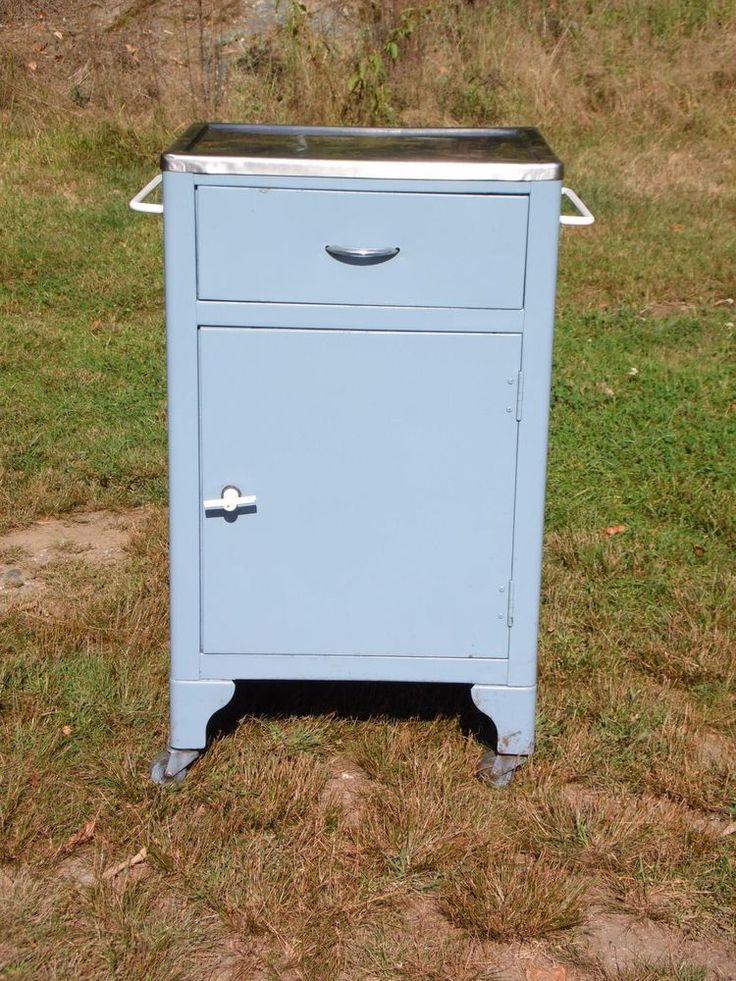 Vintage Steampunk Industrial Medical Dental Rolling Metal Cart Utility Cabinet  #MidCenturyModern