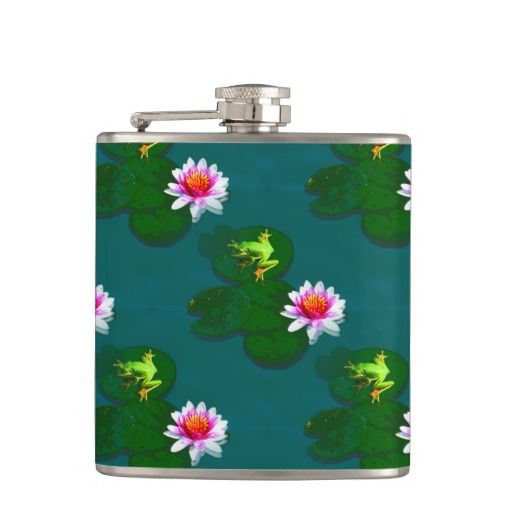 Frog On A Lily Pad Flask Hip Flasks - This flask features a frog on a lily pad sitting on still pond waters. http://www.zazzle.com.au/frog_on_a_lily_pad_flask_hip_flasks-256700723408629478?rf=238523064604734277