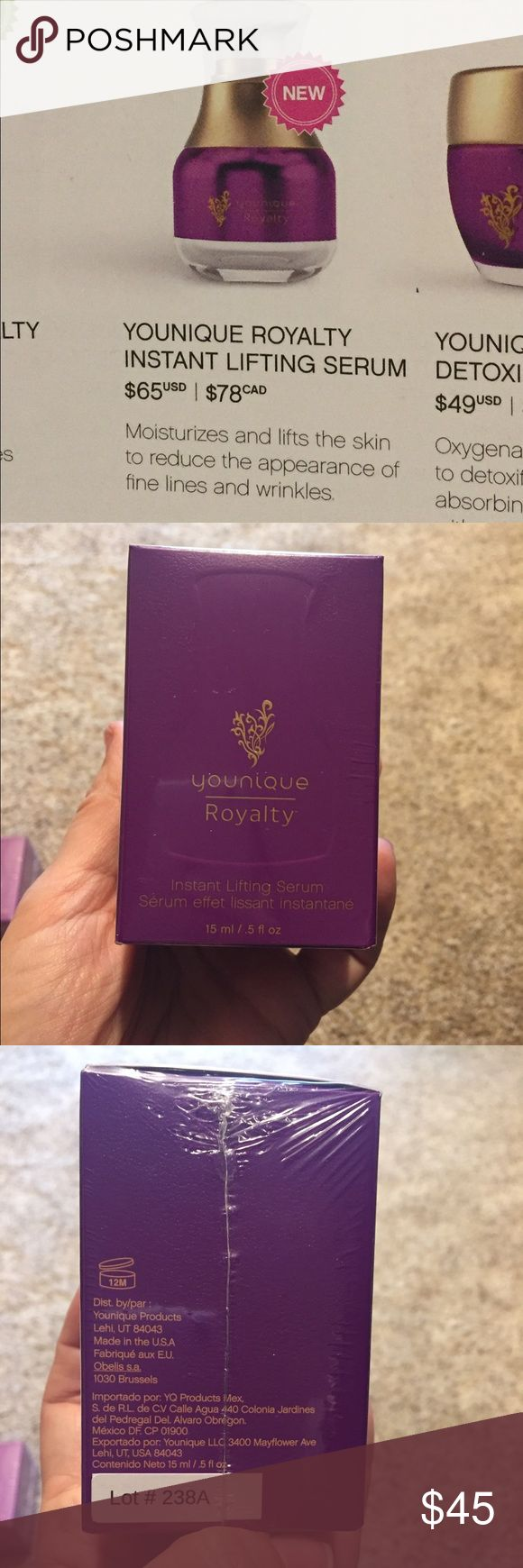 Younique Royalty Instant Lifting Serum New and still in packaging. Instant Lifting Serum is a cream that moisturizes and lifts the skin to reduce the appearance of fine lines and wrinkles. Younique  Makeup