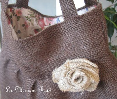 burlap purse  - I think this would be beautiful for Fall!