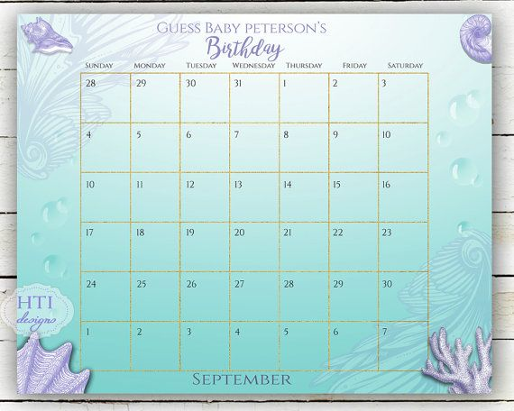 Due Date Calendar Baby Due Date Guess the Due by Hottomatoink2