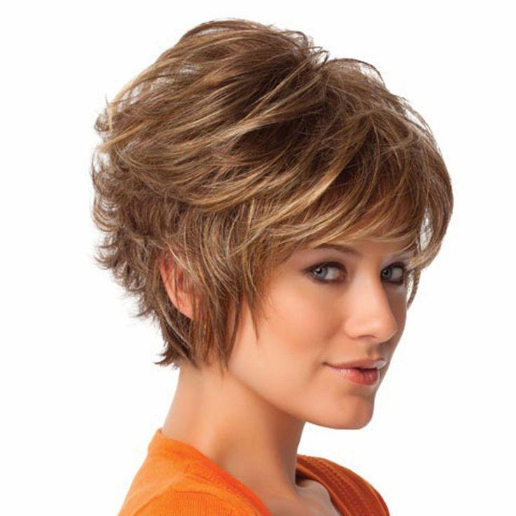 Mode Sintetis Berbulu Sedikit Keriting Bergelombang Wanita Alami Wig Rambut Pendek Wig Gadis Hadiah HB88