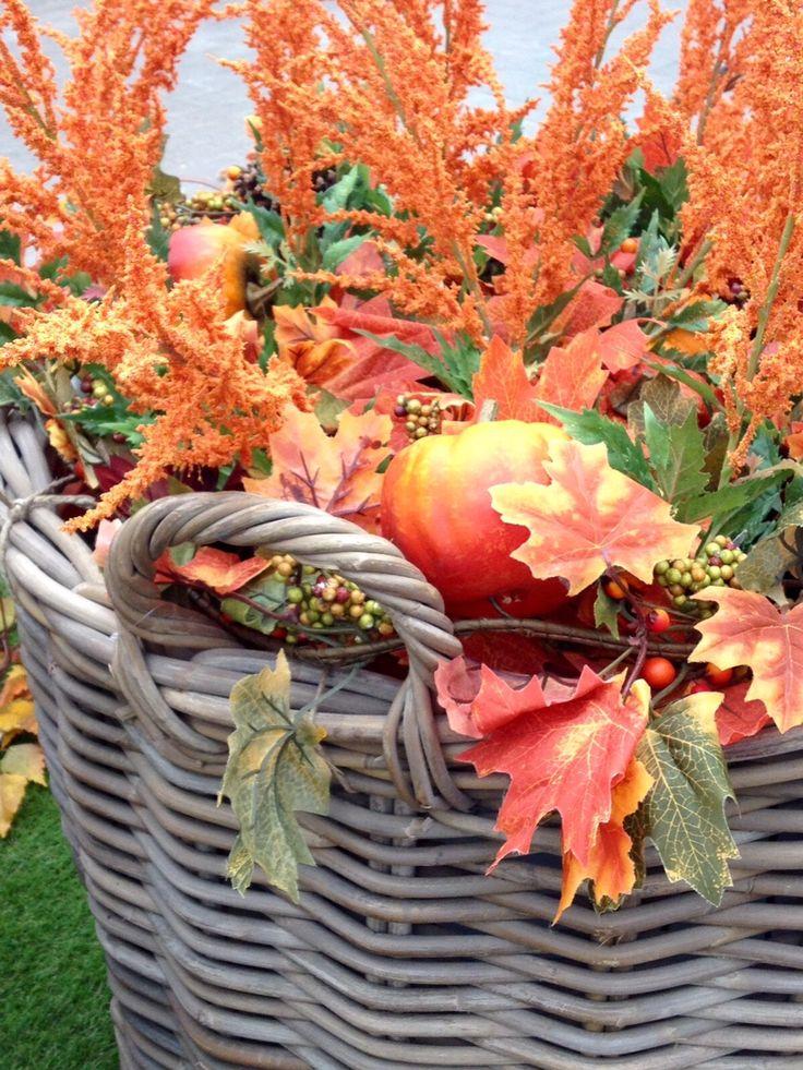 Un cesto pieno di foglie secche, piccole zucche e rami arancioni per dare il benvenuto all'autunno #autumn #fall #leaves #basket #pumpkin #orange