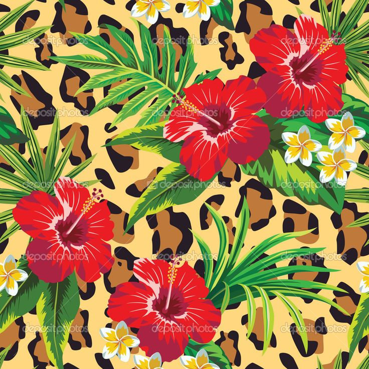 Гибискус и plumeria тропические цветы с листьями пальм, животных фон - Векторная картинка: 45560651