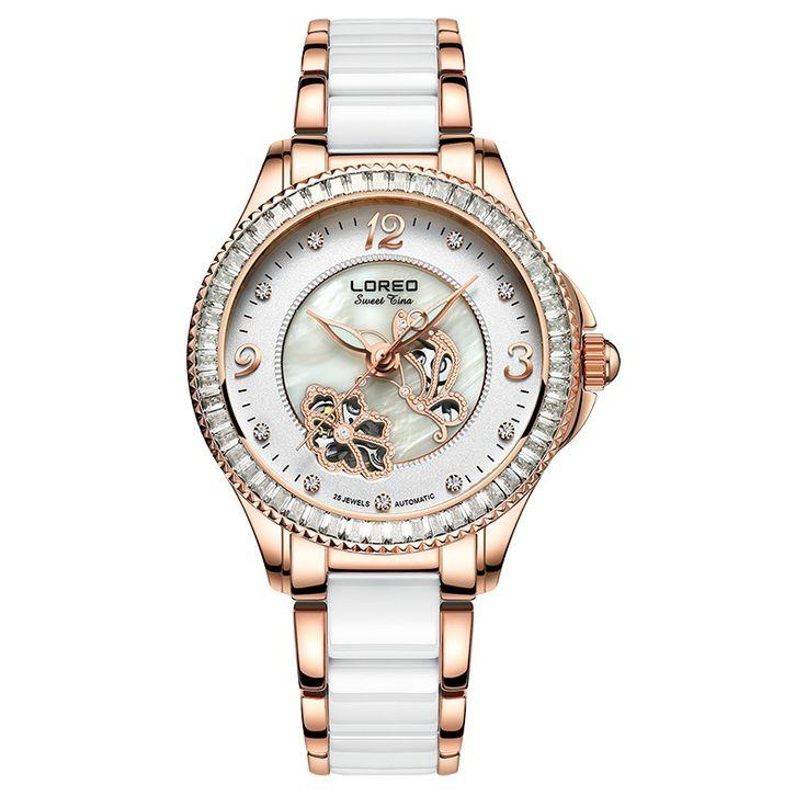 US $90.19 - LOREO Women Casual Watches Ladies Wrist Watch Gold Bracelet Simulated Ceramic Dress Diamond Quartz-watch relogio feminino K49