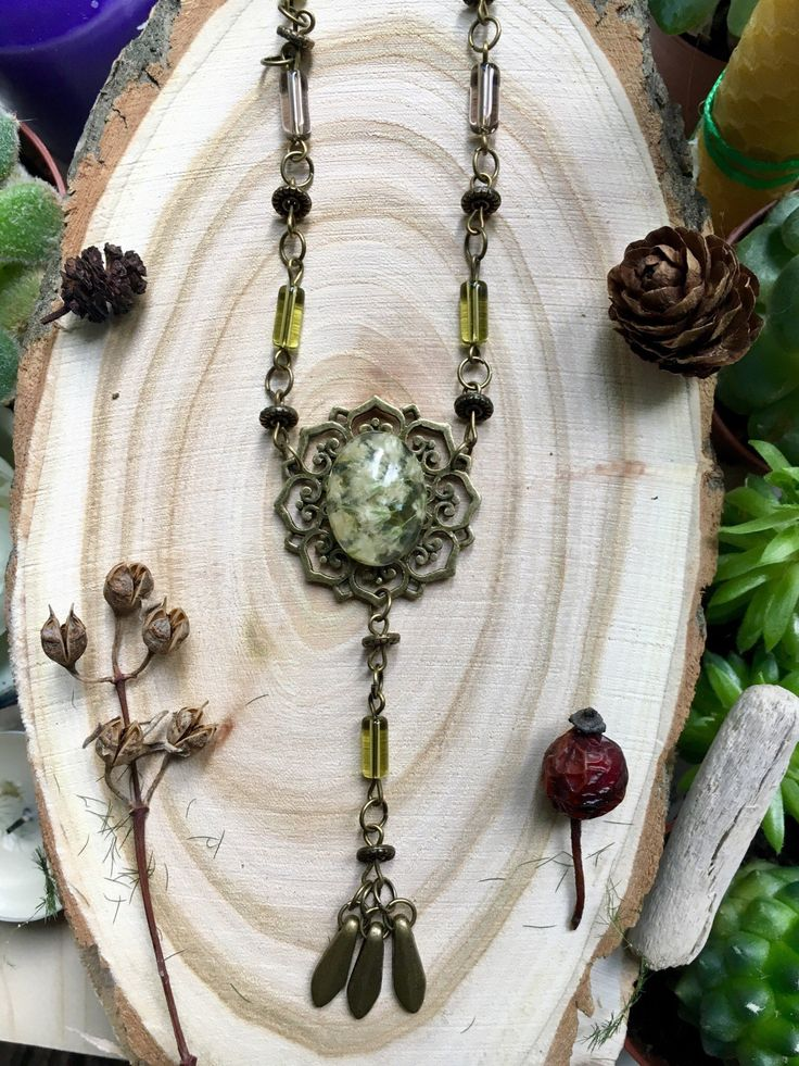 Forest ethnic necklace, Bohemian jewelry