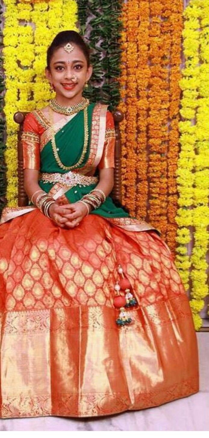 Engagement pattu saree images the  best images about langa voni on pinterest