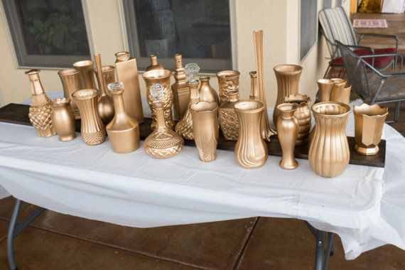 Gorgeous antique gold vases for your gatsby, deco, gold, shabby chic, or any other stylish wedding decor.   Antique Gold Vases  / Painted Vase Set, Wedding Decor Vases (Set of 30) / Gatsby Wedding Decor