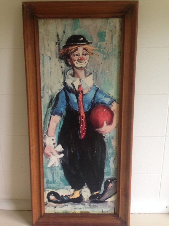 Vintage Painted Clown Wooden Clown Wall by QueSeraVintageGoods