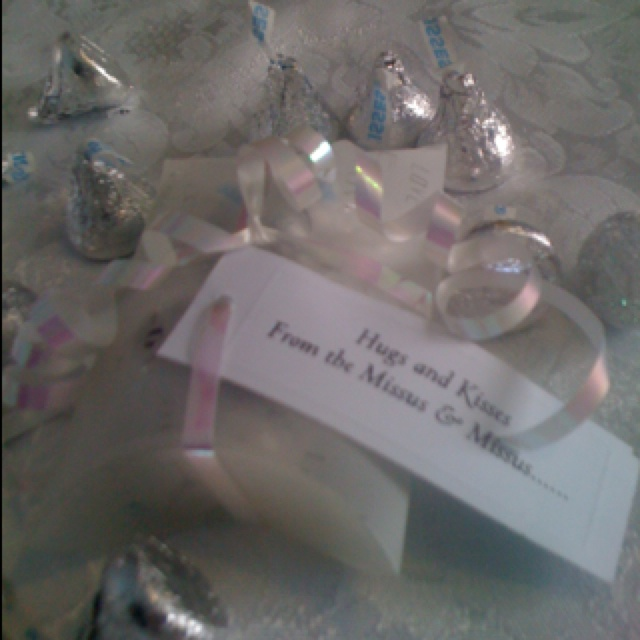 Keepsake favors from our wedding candy boxes filled with Hershey kisses and hugs tag  our names and date on the other side of the tag. Frosted and etched glasses and candle holders filled with silver kisses etc used as embellishments