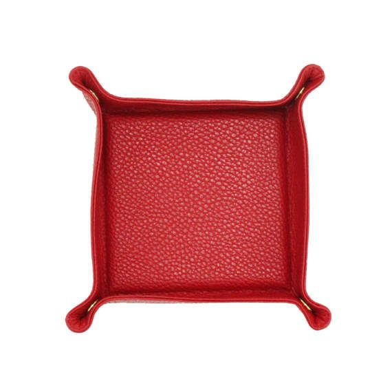 Leather Valet Tray | Catch All  | Travel Tray Set - RED by MISHKA