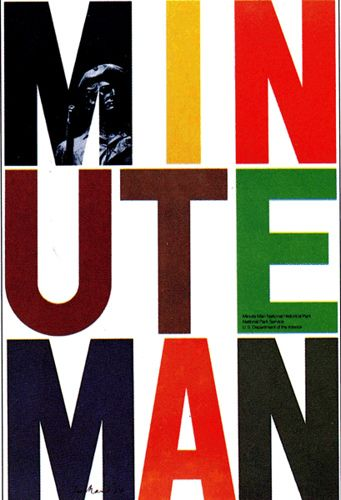 My mother was a park ranger at Minute Man National Park when I was a child. This is a poster design done for the park in 1974 by Paul Rand.