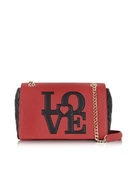 LOVE MOSCHINO RED & BLACK ECO LEATHER MEDIUM SHOULDER BAG