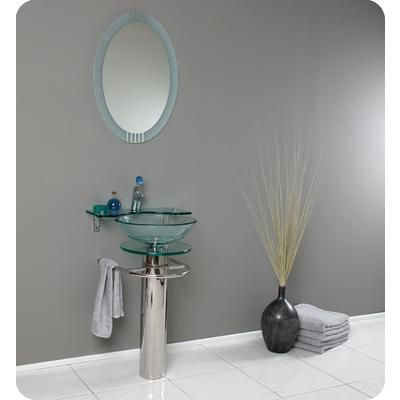 Fresca - Ovale Modern Glass Bathroom Vanity With Frosted Edge Mirror -
