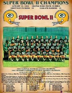 Green Bay Packers,1968 Super Bowl champions. Vince Lombardi's last year as Packer coach.