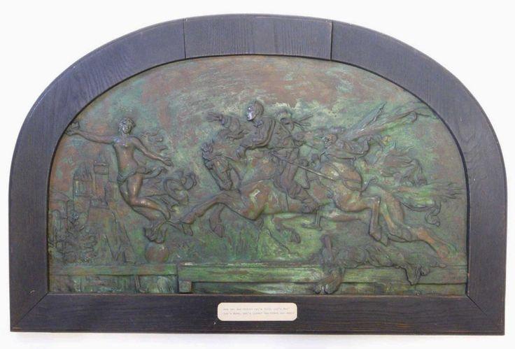 Jugendstil - Bronzerelief, Die Jagd nach dem Glück Motiv: In wildem Galopp…